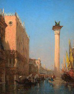 The Athenaeum - Venice in Flood (Felix-Francois-Georges-Philbert Ziem - )