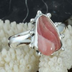 925 STERLING SILVER FANCY LADIS Rhodochrosite AMAZING RING 4.60g DJR9713 SZ-9 #Handmade #Ring