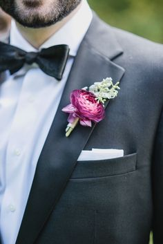 Fuchsia and Seeded Eucalyptus Boutonniere Groomsmen Fashion, Groom And Groomsmen Style, Be My Groomsman, Groom Style, Purple Boutonniere, Ranunculus Boutonniere, Boutonnieres, Wedding Boutonniere, Ranunculus Centerpiece