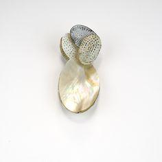 brooch,mother of pearl, enamel on copper, gold