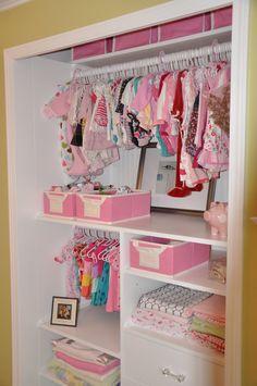 Organized baby closet.