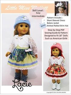 Little Miss Muffett Lacie Doll Clothes Pattern 18 inch American Girl Dolls | Pixie Faire