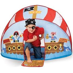 Pirate Pop-Up Tent Play Set and thousands more of the very best toys at Fat Brain Toys. It's the perfect play set for every little Pirate! Pop-up Pirate Ship tent is super-easy to set up and is packed in a conveni. Toddler Gifts, Toddler Toys, Baby Gifts, Baby Toys, Indoor Forts, Play Fort, Play Tents, Kids Tents, Pop Up Play
