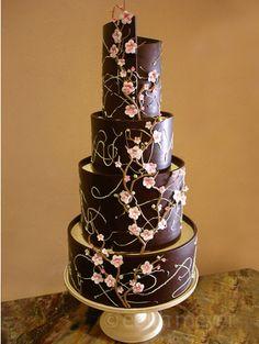 Dark chocolate cherry blossom cake. My two favorites dark chocolate and cherry blossoms. Perfect mix!