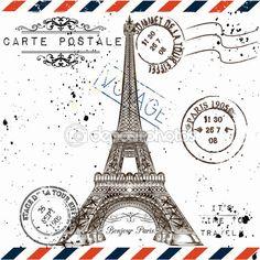 3)Bonjour Paris. Imitation of vintage post card with Eiffel tow — Ilustración de stock #82803646