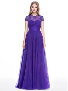A-Line/Princess Scoop Neck Floor-Length Tulle Evening Dress With Lace Pleated