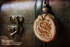 Viking Dragon wood pendant