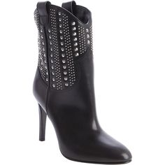 Saint Laurent Black Leather 'debbie' Studded Detail Boots (342960101) ($1,038) ❤ liked on Polyvore featuring shoes, boots, ankle booties, ankle boots, black, black bootie, black leather boots, short black boots and high heel booties