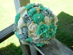 Tiffany blue and gray bridal bouquet Sola by LittleBlueBirdSays