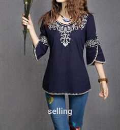 2018 New Fashion Women Girls Totem Pattern Vintage Ethnic Blouse Embroidery Cotton Casual Shirts Tops blusa etnica bordada Mexican Shirts, Mexican Blouse, Cotton Blouses, Shirt Blouses, Tunic Shirt, Blouse Ethnique, Sammy Dress, Embroidered Blouse, Embroidery Dress