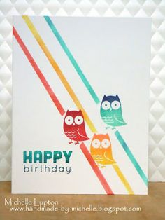 handmade card for Fusion Card Challenge: Everything's Owl Right ... one layer ... pretty summer colors ...