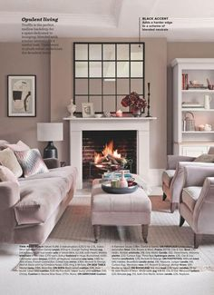 Living room in neutral paint color scheme with walls painted in Dulux Velvet Truffle