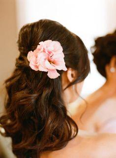 hair, half down with flower, beautiful.