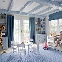 Lauren Stern Design - boy's rooms - boys room, boys bedroom, blue boys room, blue boys room, blue boys bedroom, blue bookcase, built ins, bu...