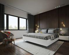 láminas madera oscura en la pared del dormitorio
