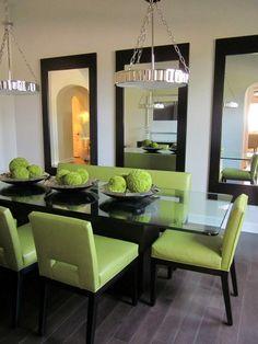 Столовая в цветах: черный, серый, светло-серый, темно-зеленый, бежевый. Столовая в стиле арт-деко.