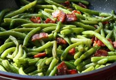 Baconös zöldbab Green Beans, Main Dishes, Bacon, Vegetables, Food, Main Course Dishes, Entrees, Essen, Main Courses