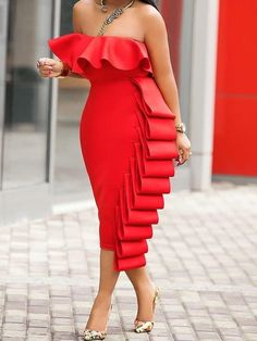 Mid-Calf Falbala Sleeveless Off-The-Shoulder Party/Cocktail Dress Latest African Fashion Dresses, African Dresses For Women, Elegant Dresses, Sexy Dresses, Summer Dresses, Formal Dresses, Wedding Dresses, Party Dresses, Tailored Dresses