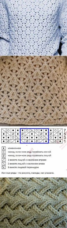 the chart is for knitting in the round, when is knitted flat – the rows – Knitting patterns, knitting designs, knitting for beginners. Knitting Stiches, Crochet Stitches Patterns, Knitting Charts, Lace Knitting, Stitch Patterns, Knitting Patterns, Knitting Machine, Knitting Needles, Knit Stitches