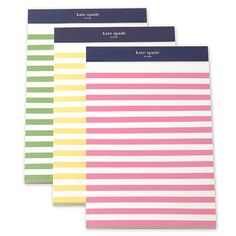 law school with kate spade notepads. Every fashionable law student has to arrive super cute! Kate Spade Designer, Cute Stationery, Stationary, Ideas Para Organizar, Striped Walls, Note Paper, Pen And Paper, Mood, School Supplies