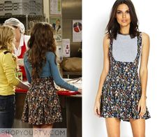 Riley Matthews (Rowan Blanchard) wears this floral overall skirt in this episode of Girl Meets World. It is the Forever 21 Floral Crossback Overalls. Sold out.