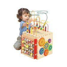 """5 'N 1 Activity Cube by ConstructivePlaythings. $119.99. A hardwood Activity Cube with no loose parts, and 5 different manipulative panels challenge children. On top is a Rollercoaster, with colorful beads to manipulate. The side panels include a pathfinder maze, an abacus, interactive gears and spinning alphabet blocks. Size 12"""" Sq. x 21"""" H. (18 lbs.) Ages 2 yrs. +."""
