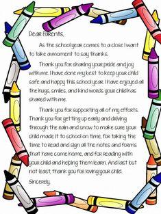 Parent Letters From Teachers, Teacher Thank You Letter, Letter To Students, Teacher Notes, Parents As Teachers, Teacher Letters, Teachers College, Preschool Graduation Poems, Preschool Poems