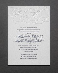 Love this font for the details...all caps with a little fancy. Burgues Letterpress Wedding Invitations by blush