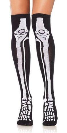 Tights / Thigh His Skeleton Bone Thigh Highs Socks by Leg Avenue : Thigh Highs