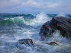 A collection of original paintings by the world renowned seascape artist Charles Vickery. Seascape Paintings, Landscape Paintings, Sea Pictures, Ocean Shores, Guache, Sea Waves, Ocean Art, Painting Inspiration, Impressionist