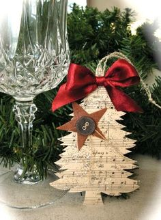 Recycling paper for Christmas tree decorations