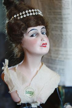 "Rare Industrial Cage Half Doll w/Tiara 1920s- could the ""cage"" be a lamp shade frame?"
