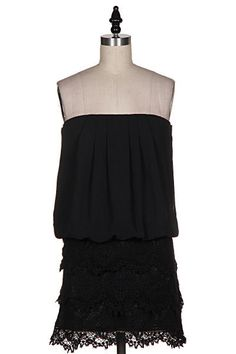 So Into You Strapless Lace Dress - Black