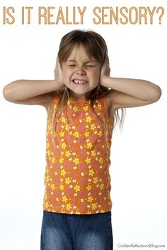 Is your child's behavior a sensory processing issue? Not always, but sometimes. Come find out how to tell the difference. www.GoldenReflectionsBlog.com
