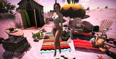 """When the sun shines, we'll shine together!"" :: B O D Y :: Hair – +elua+ Mao_Red :: C L O T H I N G :: Top – MoDANNA [Bray Collection] Yoga Top White  AnyBODY Pants – [Cynfu…"