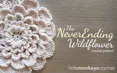 Crochet Flower Pattern PDF (The Neverending Wildflower Crochet Pattern by Little Monkeys Crochet) flower crochet pattern Beau Crochet, Crochet Puff Flower, Crochet Flower Patterns, Love Crochet, Beautiful Crochet, Crochet Flowers, Knit Crochet, Crochet Monkey, Crochet Granny