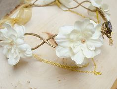 Gold and Ivory Elven crown wedding headpiece