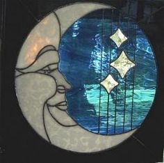 Moon and stars stained glass/would love to try this w stained glass.