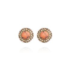 Retro Pavé Stud Earrings (peach and gold) perfect summer studs