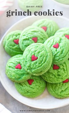 Dairy Free Grinch Cookies – Inspired by Dr. Suess's The Grinch Who Stole Christmas, these dairy free Grinch cookies are a simple, colorful way to get your kids into the holiday spirit. Christmas Cookies Grinch, Grinch Cookies, Easter Cookies, Christmas Treats, Christmas Baking, Christmas Recipes, Holiday Recipes, Holiday Cookies, Christmas Drinks