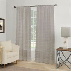 Coco Clip Rod Pocket Window Curtain Panel