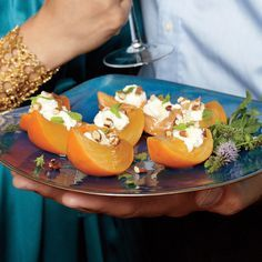 Crisp Persimmon with Ricotta, Honey, Pecans, and Mint | MyRecipes