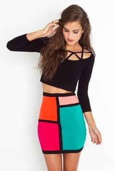 Kylie Colorblock Skirt - NASTY GAL - StyleSays
