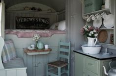 I like the pull-out table that looks like a drawer (this is just a picture for inspiration...no link)  Google SHEPHERD HUT for tons more pictures of similar dwellings.