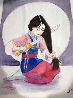 Mulan cuting her hair …