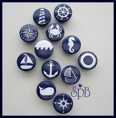 our kids Nautical Drawer Knob, Drawer Pulls, Nautical Nursery Decor, Nautical Cabinet Pulls, Dresser Knobs for Kids Room ===================================================================== Nautical Drawer Knobs, Nautical Drawers, Pebble Painting, Pebble Art, Stone Painting, Rock Painting Patterns, Rock Painting Designs, Stone Crafts, Rock Crafts