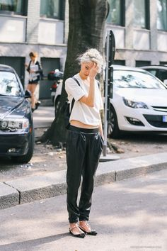 leather rider pants and gem-stoned t-flats? and she still looks fresh? #style