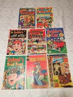 [FREE-SHIPPING] $14.99 8 Vintage COMIC BOOKS Bugs Bunny ARCHIE Jughead SCOOBY DOO Tv Stars #BestBookForElementary #BestChildrensBooksByAge #BestReadAloudChapterBooks Vintage Comic Books, Vintage Comics, Archie Jughead, Love Scenes, Bugs Bunny, Chapter Books, Read Aloud, Scooby Doo, Baseball Cards