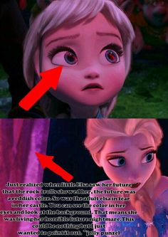 Look how scared she is. In the first picture, she thinks she is seeing her death! And in the second. She remembers it, and think she is going to die. But not without a fight. Funny Disney Memes, Disney Jokes, Disney Facts, Right In The Childhood, Childhood Ruined Disney, Sad Disney, Creepy Disney, Disney Stuff, Disney Theory