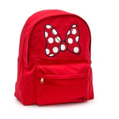 This sassy Minnie Mouse backpack is a stylish way to carry essentials. In bright red, it features a polka dot bow print, studded with gemstones!